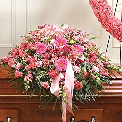 PlantShed - Cherished Memories Pink & White Half Casket Cover - Flower Hand Delivery in NYC Local Manhattan (Pink Casket Spray Flowers)
