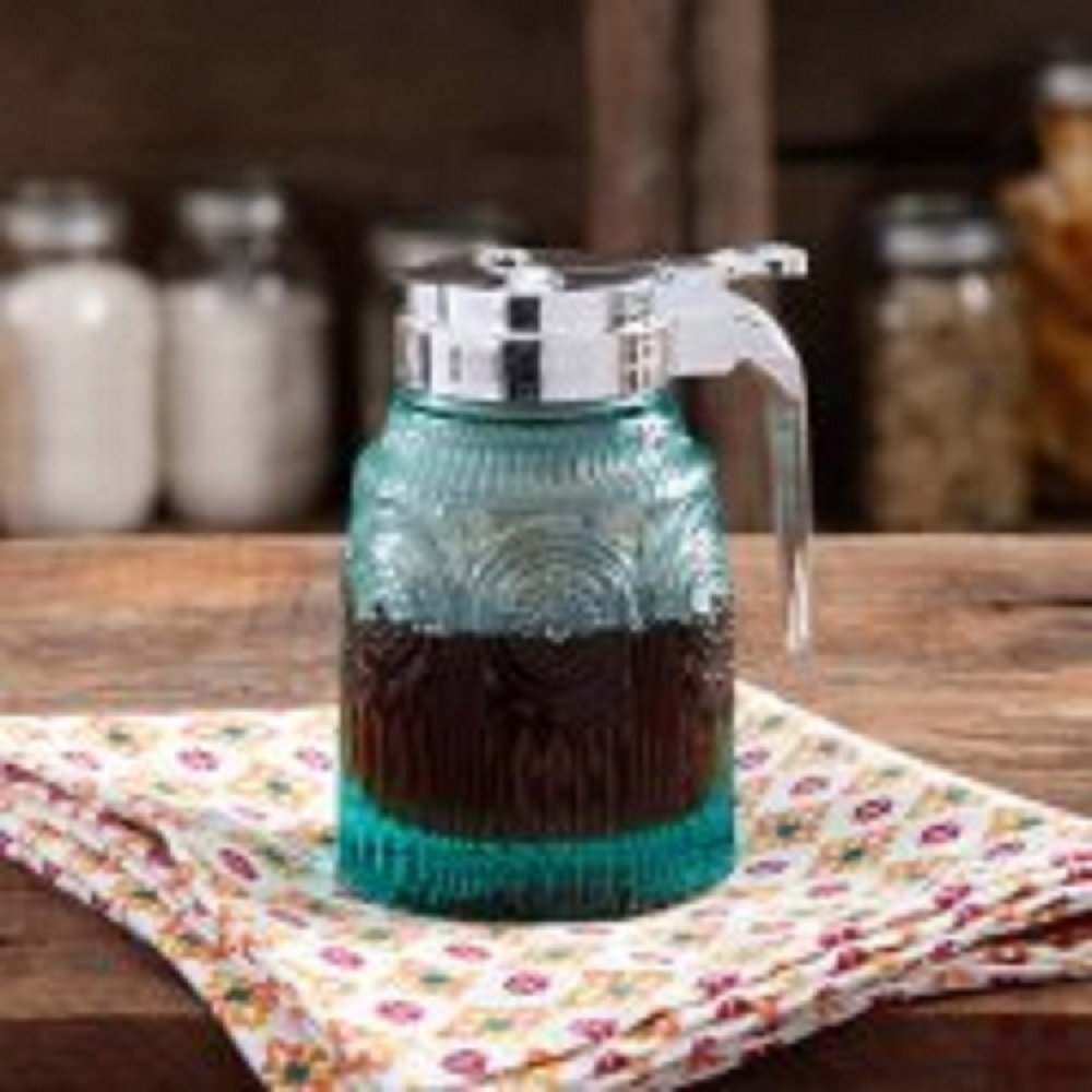 The Pioneer Woman Teal Syrup Pourer Dispenser - Embossed Pressed Glass COMIN18JU085105