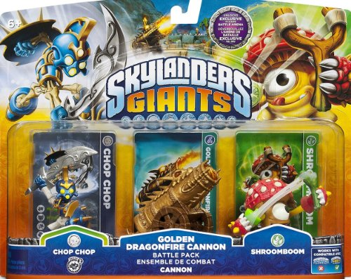 Skylanders Giants Exclusive Golden Dragonfire Cannon Battle Pack Chop Chop, Golden Dragonfire Cannon, & Shroomboom - Unlocks Exclusive in Game Battle (Dragon Skylanders)