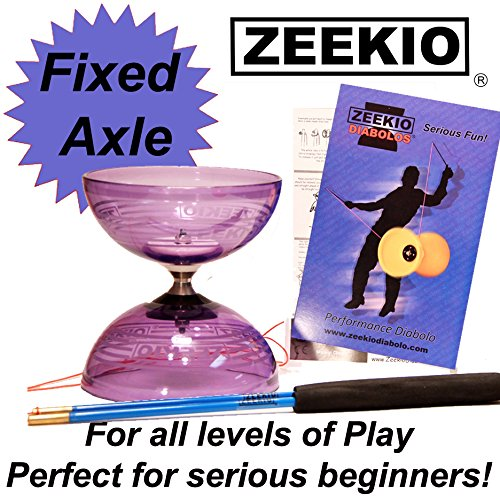 - Zeekio Crystal Series Master Spin Diabolo - Fixed Axle, Durable Transparent cups, Comes with Sticks, String and Instructions - (Purple)