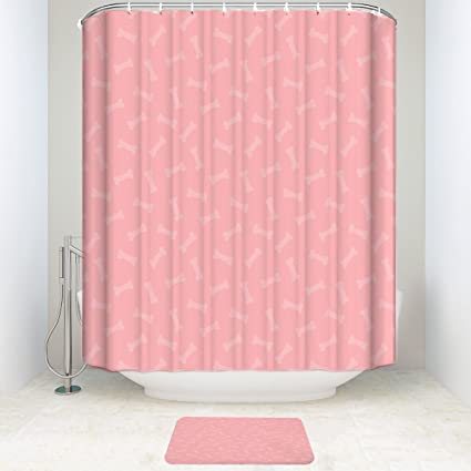 Amazon Cute Cartoon Bones Pink 48x72 Shower Curtain Polyester