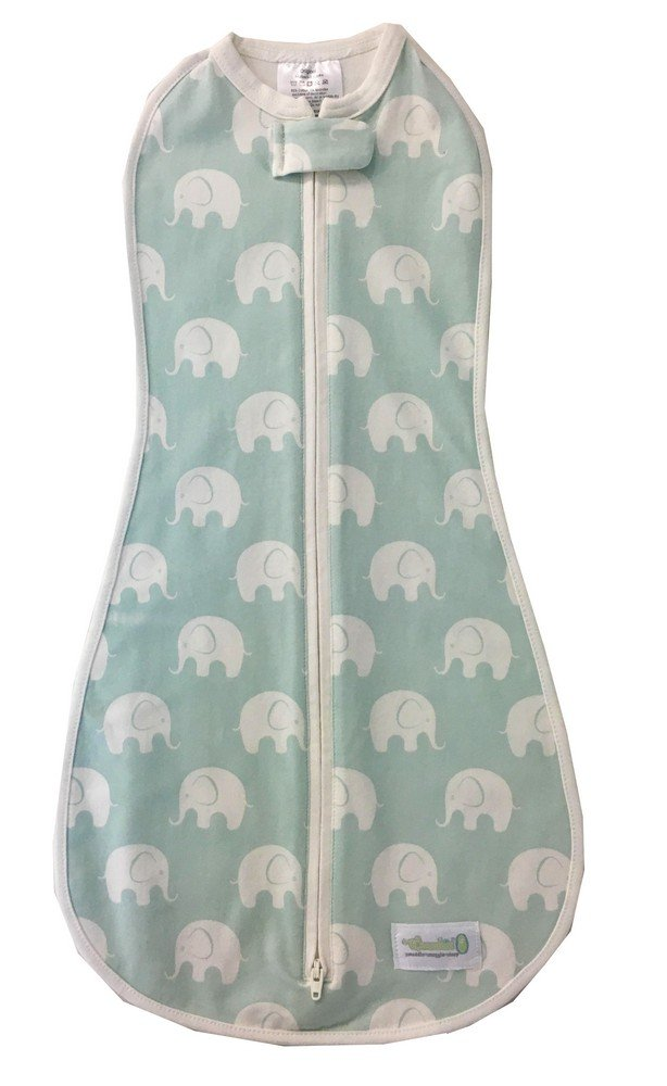Woombie Original Baby Cocoon Swaddle 0/bis 3/Monate, Blau, Serene Elefanten
