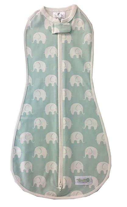 Saco Woombie para bebés de 0 a 3 meses, color azul, diseño de elefantes