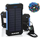 Solar Cell iPhone Smartphone Charger |Solar Power Battery Pack | Phone Power Bank With Water-Resistant Solar Panels | Fast 10,000mAh Portable Charger |Solar Bank With 2 USB Ports and Flashlight
