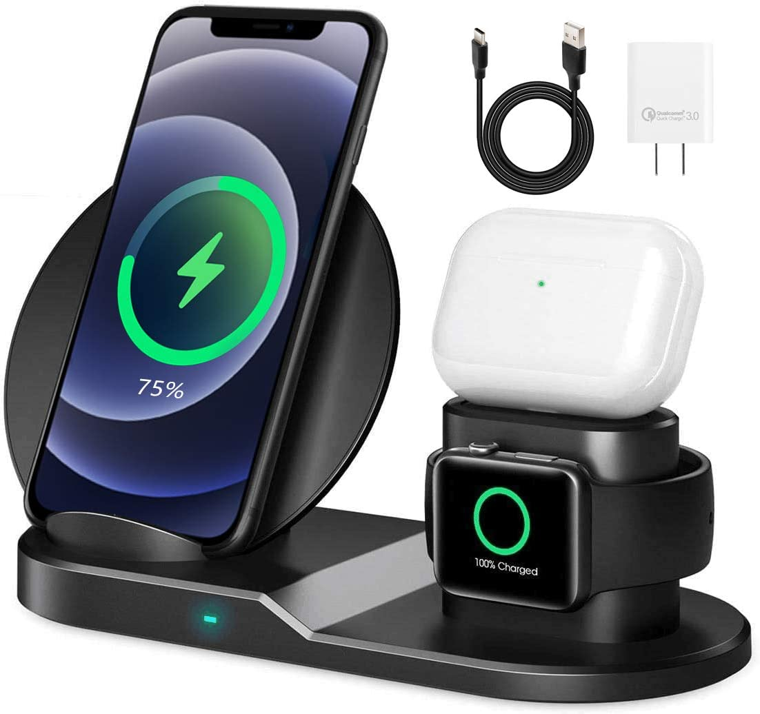 AICase Qi Wireless Charger,3-in-1 Charging Pad,Multiple Devices Wireless Charger Dock for Air Pods,for Apple Watch Series 5/4/3/2/1 and for iPhone 11/11 Pro/11 Pro Max/XR/X/8 Galaxy Note10/9 and More
