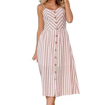 Vestido de verano para mujer – Saihui sexy rosa a rayas estampado Spaghetti correa botones sin