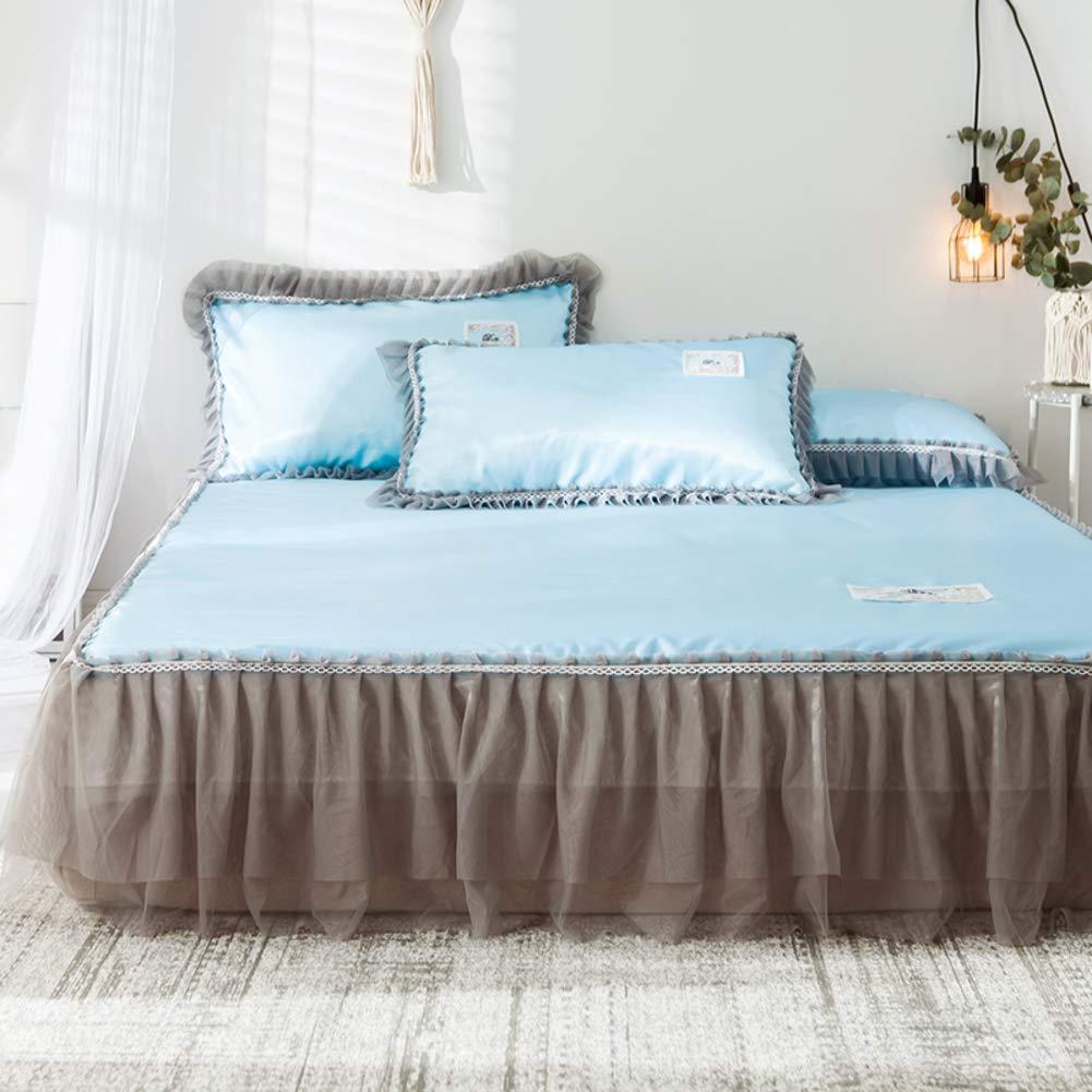 bluee Twinch2 3-Piece Summer Sleeping Mat Quilted Fitted Bed Sheet Ice Silk Mat Bed Skirt Lace Folding Bed Summer Cooling Mattress Pad Mat-Purple King