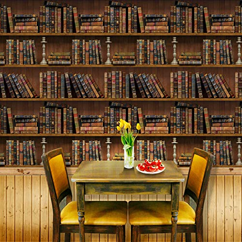 Faux Vintage Bookshelf Wallpaper Peel and Stick PVC Removable, School Library Antique Bookcase DIY Wall Sticker
