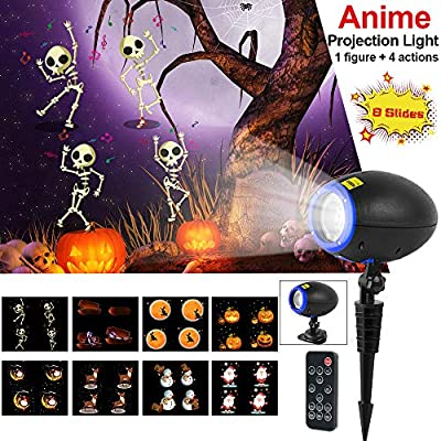 Led Halloween Christmas Projector Lights, Elec3 Outdoor Waterproof Holiday Light Projector Dynamic with 360° Wireless Remote and 8 Interchangeable Colorful Slides