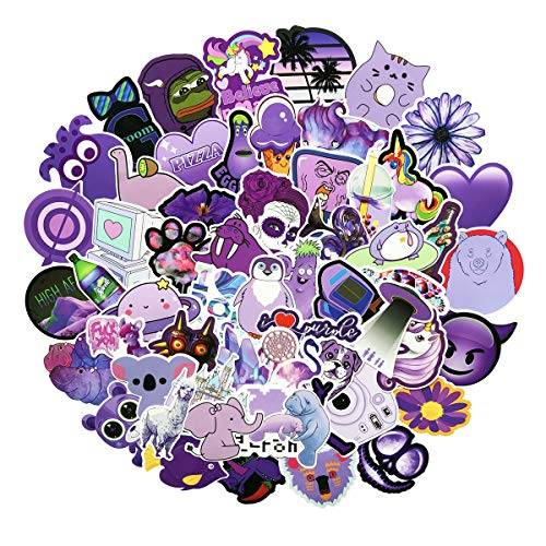 Stickers for Water Bottles Big 60-Pack Cute Purple Aesthetic Trendy Stickers for Teens,Girls Perfect for Waterbottle Laptop Phone Travel Extra Durable 100% Vinyl (Purple 60)