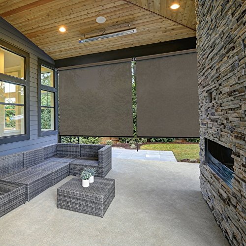 RADIANCE Cordless Exterior 96X72 Durable Waterproof Fabric Coconut Brown Solar Shade with Crank Handle by RADIANCE