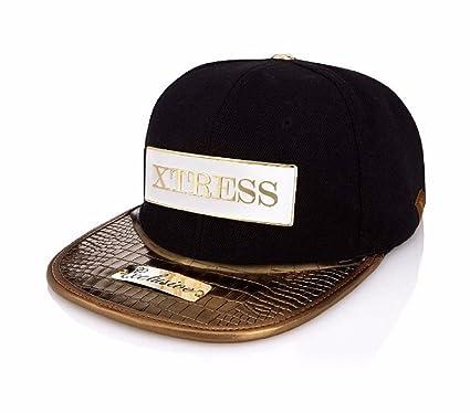 Xtress Exclusive Gorra negra con visera plana dorada. Unisex: Amazon.es: Ropa y accesorios