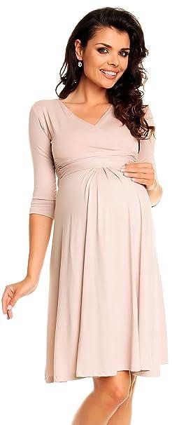 Zeta Ville Womenu0027s Maternity Dress Summer Cocktail Skater Baby Shower Dress  282c (Ecru, Size