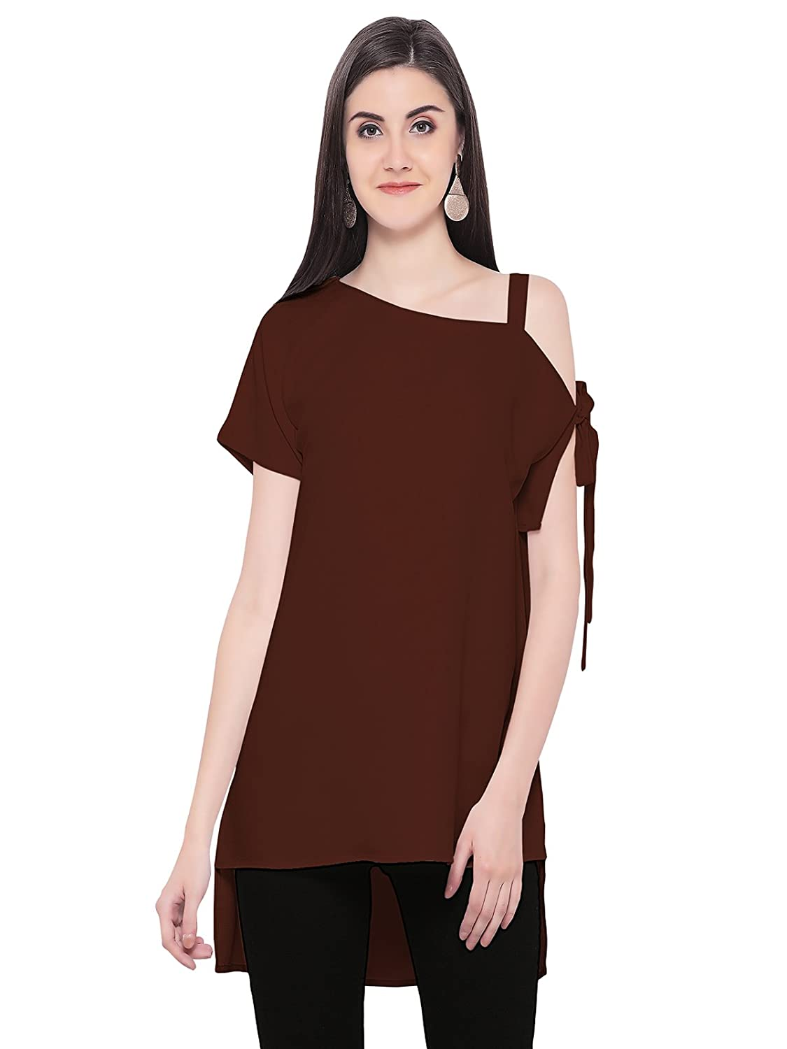 Western Wear Moss Georgette Color Maroon Plain Tops