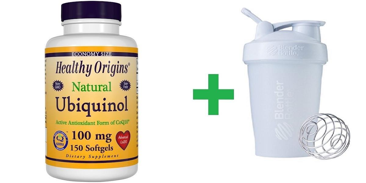 Healthy Origins, Ubiquinol, Natural, 100 mg, 150 Softgels + Assorted Sundesa, BlenderBottle, Classic With Loop, 20 oz