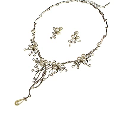 eba99e1834b46 Amazon.com: Timelessbride Europe Crystal Pearl Floral Vine Necklace ...