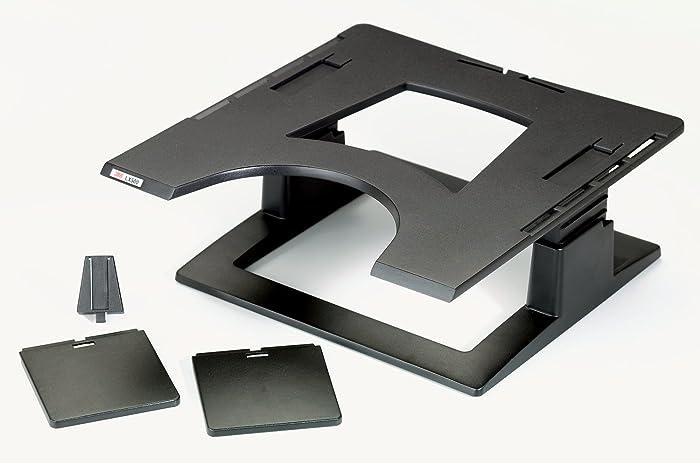 "3M Adjustable Laptop Stand, Raise Screen Height to Reduce Neck Strain, 3"" Height Adjustment, Large Platform for Docking Station, Non-Skid Base Keeps Laptop Secure, Cable Management, Black (LX500)"