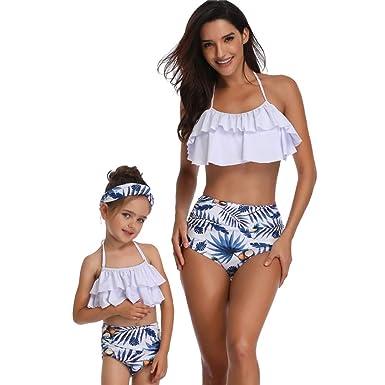 917149b291 YiLianDaD Mère-Fille Maillots de Bain Volant Taille Haute Bikini Set Femme  Fille Vintage Fleur