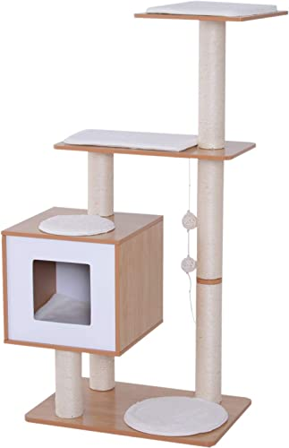 PawHut 47 Modern Cat Tree Multi-Level Scratching Post with Cube Cave Enclosure – Oak Wood and White