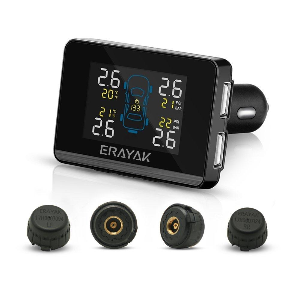 Erayak, sistema di monitoraggio della pressione dei pneumatici TPMS, con Schermo HD a colori e 4 sensori ad alta pressione
