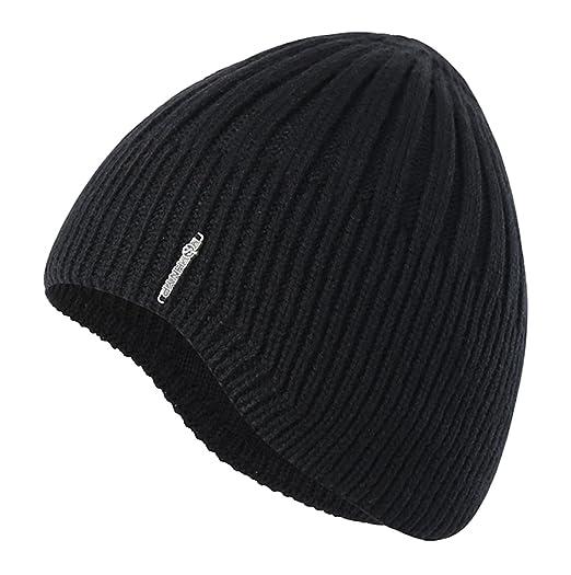 Home Prefer Boys Toddler Knit Beanie Winter Warm Skull Hat Ears Covers Black 073e734c889