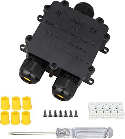 Pack of 3 Outdoor Cable Connector Junction Box 5-pin Waterproof IP68 Electrical Connectors for 4mm-14mm Cable
