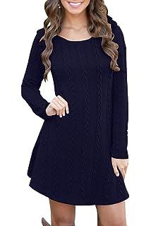 53faf9ca4 Vestido Alinear De Punto Mujer Elegantes Vintage Otoño Invierno Jersey de  Vestir Moda Ropa de Punto
