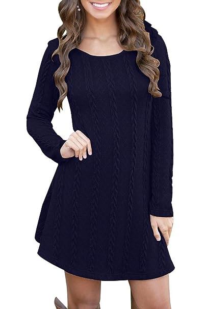 8cf6d1eaa5cc Vestido Alinear De Punto Mujer Elegantes Vintage Otoño Invierno Jersey de  Vestir Moda Ropa de Punto Camisetas Manga Larga Cuello Redondo Blusa Tops  ...