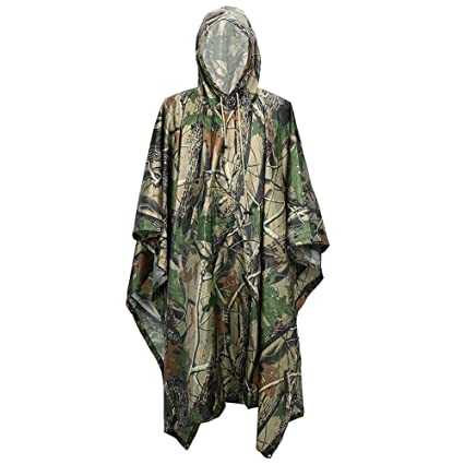 amazon com loogu rain poncho waterproof camouflage rain coat
