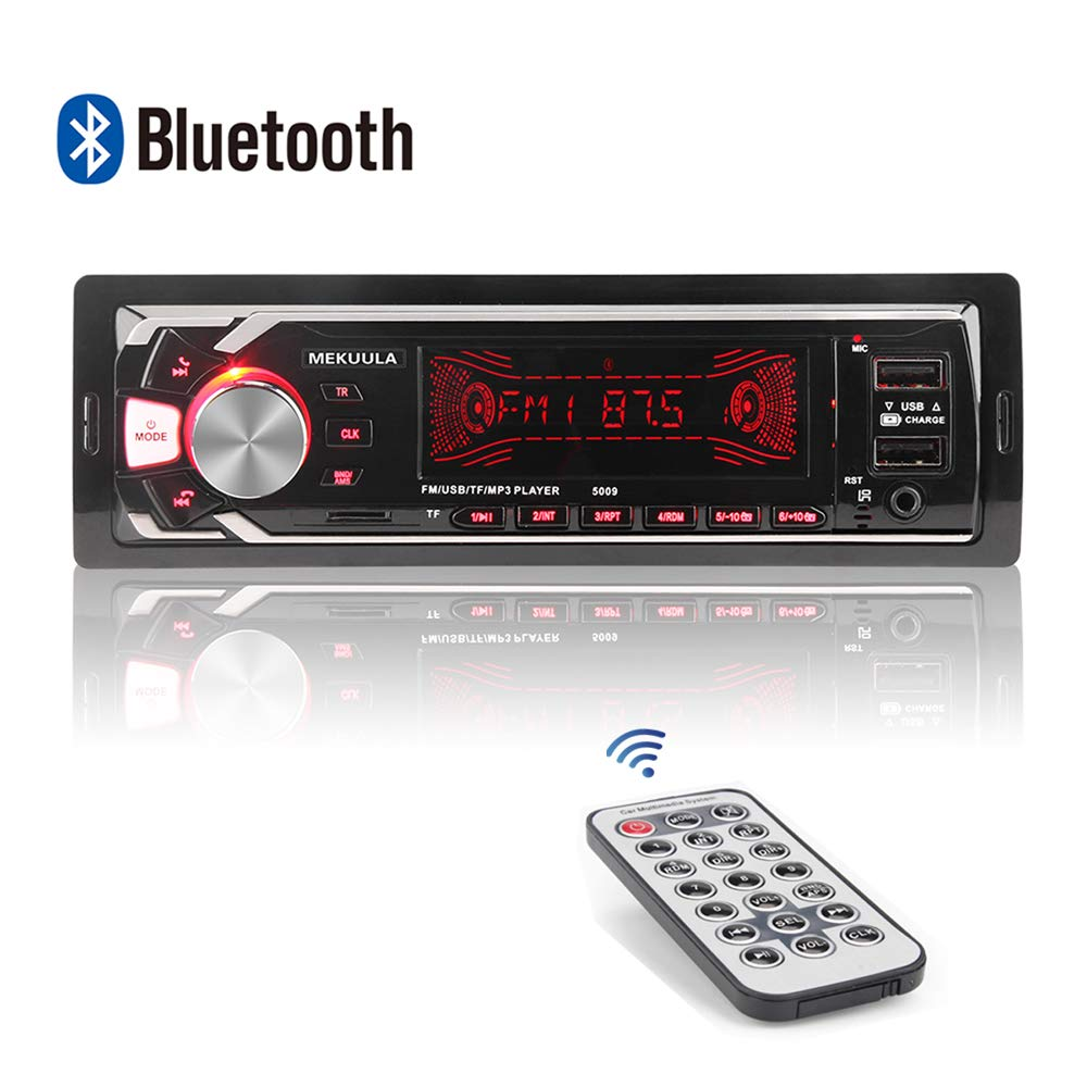 Autoradio Bluetooth Main Libre, 2 Ports USB Poste Stéréo Radio, 1 Din Radio Voiture, 7 Couleurs d'éclairage FM/USB/SD/AUX/EQ / MP3 Player + Télécommande product image