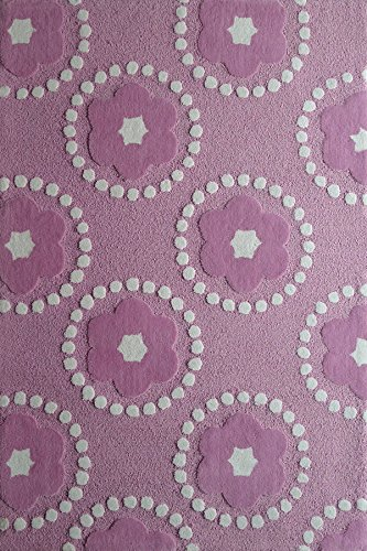 Flower Power Kids Pink And White Area Hand Tufted Area Rug Exact Size 4 Feet By 6 Feet 4x6(Kids)Petals by Rug Addiction
