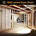 Onforu 80W 8000LM LED Work Light with Cooling Fan, 800W Equivalent, 2 Brightness Levels, 16.4ft Cord with Plug, Flood Lights with Stand for Workshop, Construction Site, 5000K Daylight White