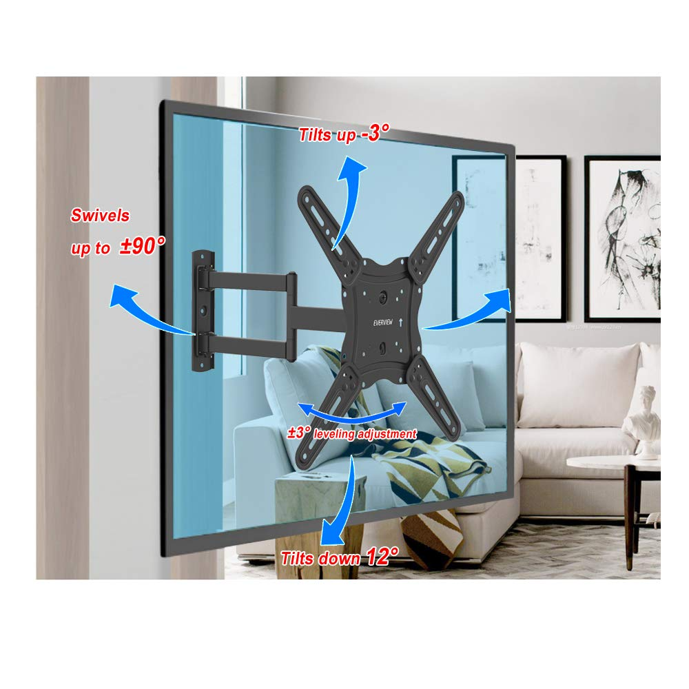 TV Wall Mount Bracket fits to Most 26-55 inch LED,LCD,OLED Flat Panel TVs, Tilt Full Motion Swivel Articulating Arms, TV Bracket VESA 400X400, 77lbs Loading with HDMI Cable, Cable Ties EVERVIEW by EVERVIEW (Image #5)
