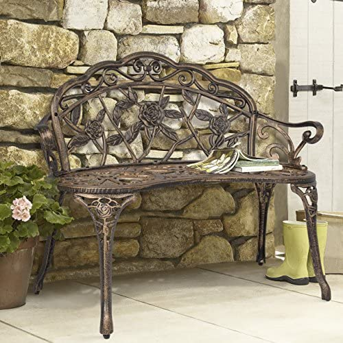 Best Choice Products Floral Rose Accented Metal Garden Patio Bench w Antique Finish – Bronze