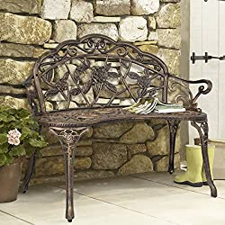 Best Choice Products Floral Rose Accented Metal Garden Patio Bench w/Antique Finish - Bronze