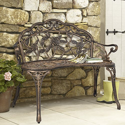 Best Choice Products Floral Rose Accented Metal Garden Patio Bench w/ Antique Finish - Bronze ()