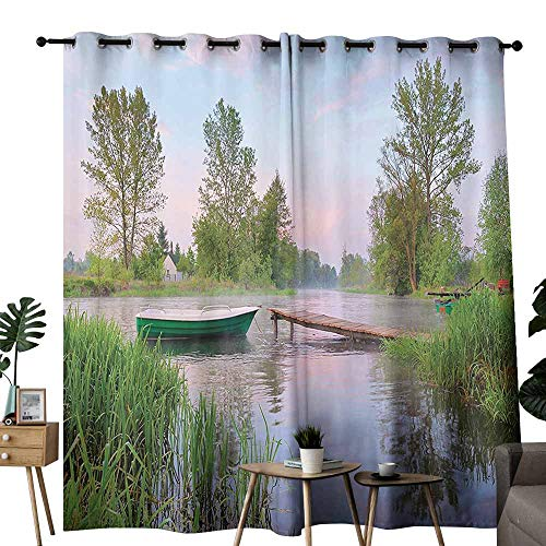 duommhome Lake House Decor Collection Bathroom Curtain Rural Landscape on Lakeside Boat Trees Grass Clouds and Boardwalk Countryside Suitable for Living Room Bedroom W96 xL84 Green Blue Brown