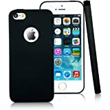 iPhone 5 5s Case,CLOUDS [Jelly Colorful Series] Ultra Slim Lightweight Classic Design Durable Soft Rubber TPU Silicone Gel New Simple Case Cover for iPhone 5s/5 - with a HD Protector - Black