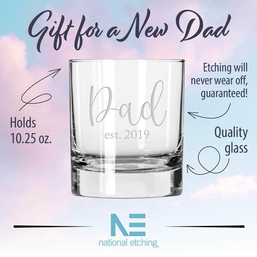 Gift for Dad Est. 2019 Whiskey Glass for New Father
