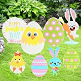 Koogel 8pcs Easter Yard Signs,Rabbit Egg Yard Stake Signs Easter Decorations for Egg Hunting Party,Easter Outdoor Lawn