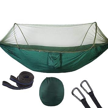 B Baosity Hamaca de Mosquitera para Deportista con Tiras de árbol y Bolsa de Transporte facíl Instalar - Verde Oscuro: Amazon.es: Deportes y aire libre