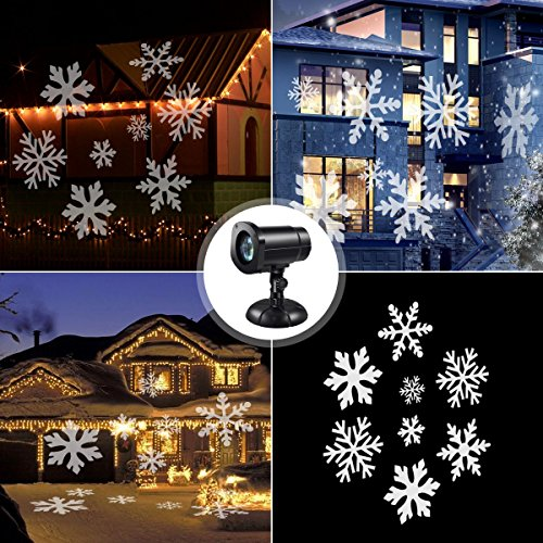 Establishing holiday traditions SUGIFT Moving Snowflake Spotlight LED Landscape Projector Light, Waterproof Christmas Projection Lights, Christmas Holiday Garden Home Party Wall Garden Lawn Indoor/Outdoor Decoration Light, White