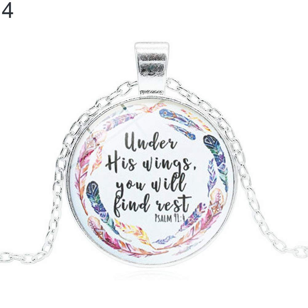 ywbtuechars Christianity The Bible Unisex Jewelry Pendant Glass Cabochon Religious Necklace - 4#