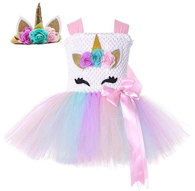 4789c8ca4c48 Tutu Dreams Unicorn Outfits for Toddler Girls with Headband Baby Girl  Birthday Party Photo Props (