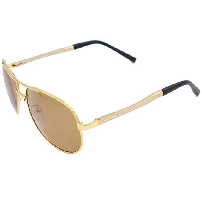 Veithdia® 1306 nuevo Fashion Golden ajustable UV400 polarizadas gafas de aviador