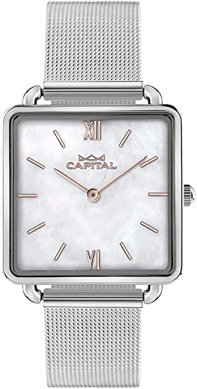 Reloj Capital de Mujer, Cuadrado, ax157, Caja y Pulsera de Acero, Esfera con auténtica nácar: Amazon.es: Relojes