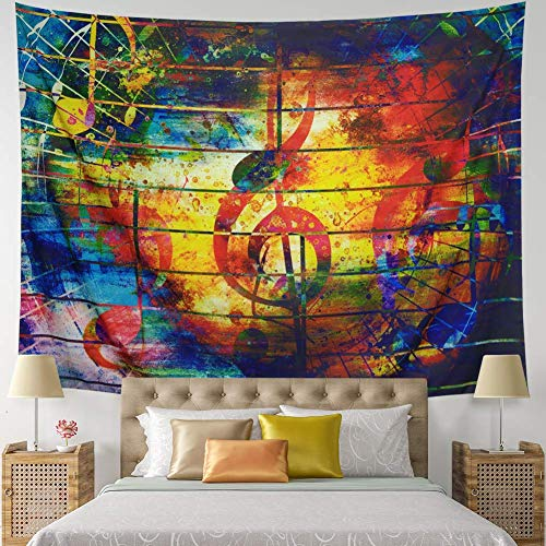 COLORFULSKY Music Decor Tapestry Wall Hanging Music Note Tapestry Hippie Wall Tapestry Colorful Tapestry Tapestry Psychedelic Bohemian Mandala Tapestry for Wedding Bedroom Home Decor -
