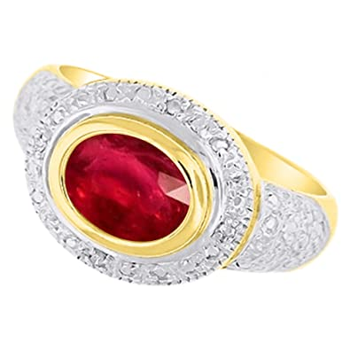 9a28990b25d2c4 Image Unavailable. Image not available for. Color: Ladies Ruby & Diamond Ring  14K Yellow Gold