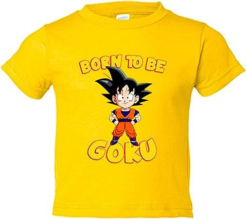 Camiseta niño parodia Dragon Ball Born To Be Goku - Amarillo, 3-4 años: Amazon.es: Bebé