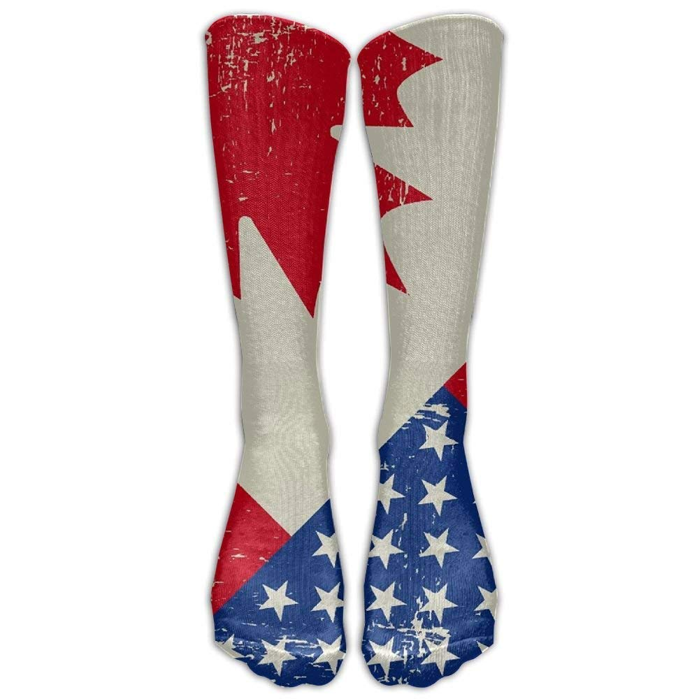 NEW Unisex Cotton Vintage Canadian American Flag Compression Sports Socks 7a0d7a06